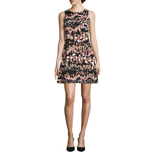Worthington Sleeveless Floral Fit & Flare Dress