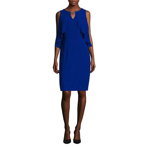 Melrose Sleeveless Capelet Sheath Dress