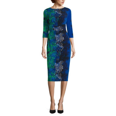 jcpenney.com | Melrose 3/4 Sleeve Floral Print Midi Sheath