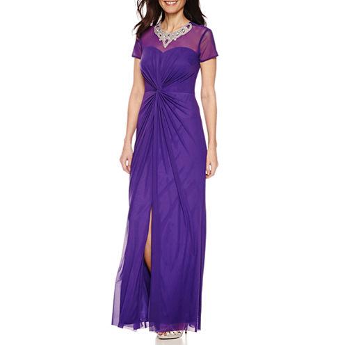 Blu Sage Short Cap Sleeve Embellished Neck Evening Gown-Petites
