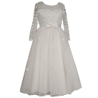 jcpenney.com | Bonnie Jean Long Sleeve Communion Dress w/ Illsuion Bodice and Embroidered Flowers w/ Full Skirt