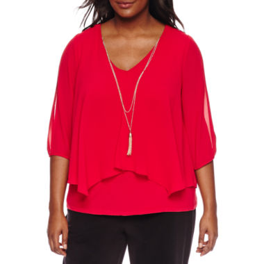 jcpenney.com | by&by 3/4 Sleeve V Neck Chiffon Blouse-Juniors Plus
