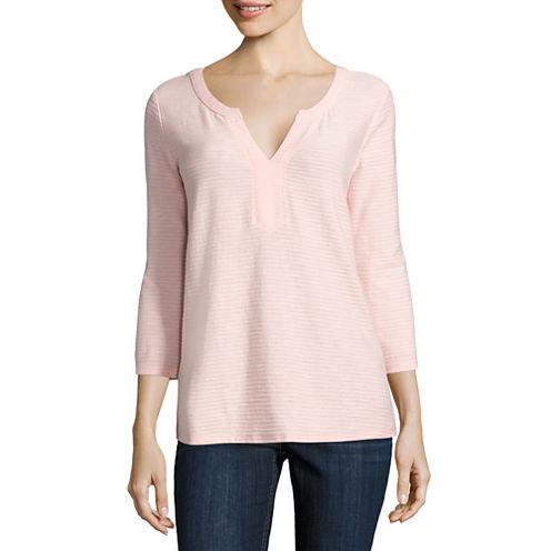 Liz Claiborne 3/4 Sleeve Y Neck Shadow Stripe T-Shirt-Petites