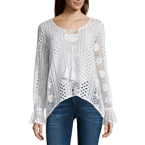 i jeans by Buffalo Long Sleeve Round Neck Crochet Top