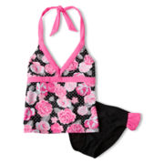 Breaking Waves Polka Dot Rose 2-pc. Swimsuit - Girls 6-16
