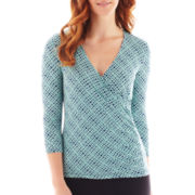 Liz Claiborne 3/4-Sleeve Surplice Top - Tall