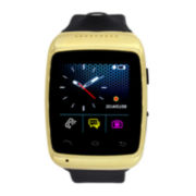 Mens Gold-Tone Bezel Black Silicone Strap Smartwatch with Camera