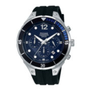 Pulsar® Mens Black Silicone Strap Chronograph Watch PT3639