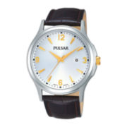 Pulsar® Mens Brown Leather Strap Watch