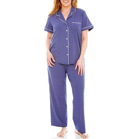 Liz Claiborne Short-Sleeve Shirt and Pants Knit Pajama Set - Plus