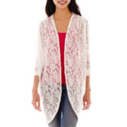 Decree® 3/4-Sleeve Lace Cocoon Cardigan