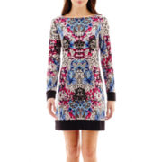 nicole by Nicole Miller® Long-Sleeve Solid-Hem Print Dress