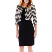 Studio 1® 3/4-Sleeve Zigzag Print Bolero Jacket Dress