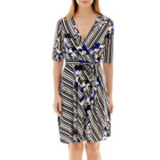 Studio 1® Elbow-Sleeve Striped Floral Print Dress