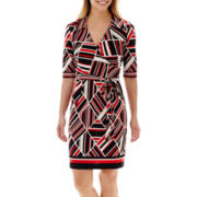 Studio 1® Elbow-Sleeve Faux-Wrap Collared Dress