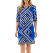 Studio 1® Elbow-Sleeve Aztec Print Shift Dress