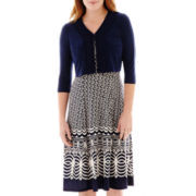Danny & Nicole® Elbow-Sleeve Knit Jacket Dress