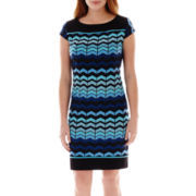 R&K Originals® Cap-Sleeve Chevron Print Knit Dress
