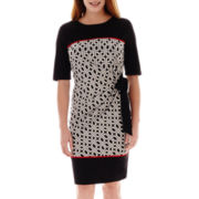 R & K Originals® Elbow-Sleeve Side-Tie Knit Dress