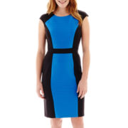 London Style Collection Cap-Sleeve Bordered Colorblock Dress