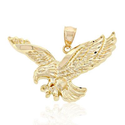Attacking eagle pendant mens 14k yellow gold eagle pendant aloadofball Images
