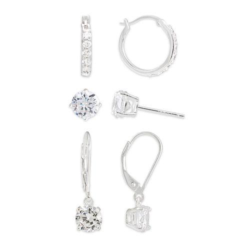 Cubic Zirconia Sterling Silver 3-pr. Earring Set