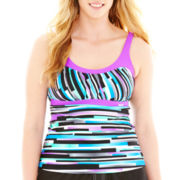 ZeroXposur® Striped Peasant Tankini Swim Top - Plus