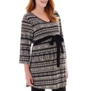 Maternity 3/4-Sleeve Tie-Waist Tribal Print Tunic - Plus