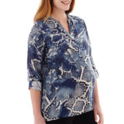 Maternity Long-Sleeve Mandarin Collar Peasant Shirt - Plus