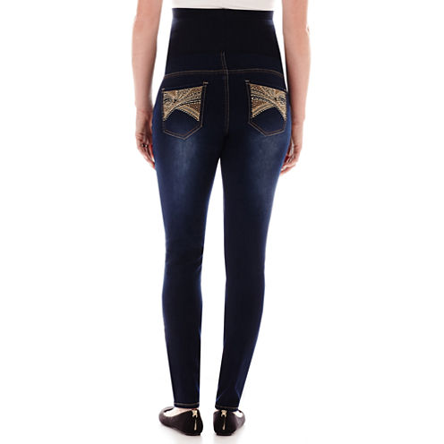 Tala Overbelly Embroidered-Pocket Skinny Jeans - Plus