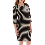 Maternity 3/4-Sleeve Striped Ruched Knit Dress