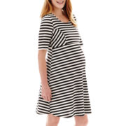 Maternity Elbow-Sleeve Striped Fit-And-Flare Skater Dress