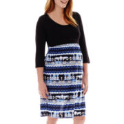 Maternity 3/4-Sleeve Tribal Print Knit Dress