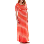 Maternity Short-Sleeve Striped Knit Maxi Dress