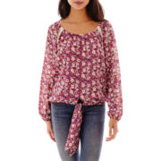Self Esteem® Long-Sleeve Crochet-Trim Peasant Top