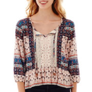 Rewind 3/4-Sleeve Crochet-Panel Print Peasant Top
