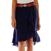 by&by Ruffled High-Low Gauze Skirt