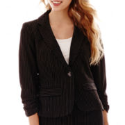 Hollywould 3/4-Sleeve Ruched Pinstriped Jacket
