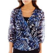 Alyx® 3/4-Sleeve Print Ruffled Top with Lace