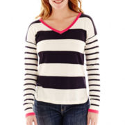 Liz Claiborne® Long-Sleeve Striped V-Neck Sweater
