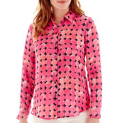 Liz Claiborne® Long-Sleeve Print Soft Shirt