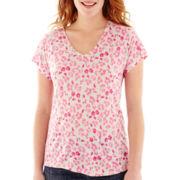 Liz Claiborne® Short-Sleeve Floral V-Neck Tee
