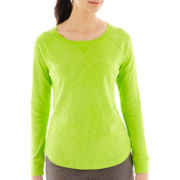 Liz Claiborne® Long-Sleeve Slub Knit Tee