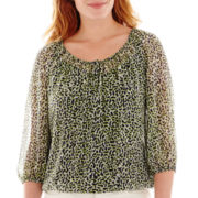 Liz Claiborne® 3/4-Sleeve Peasant Blouse