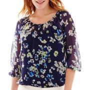 Liz Claiborne® 3/4-Sleeve Peasant Blouse with Cami - Tall