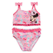 Disney Collection 2-pc. Minnie Mouse Swimsuit – Girls 2-10