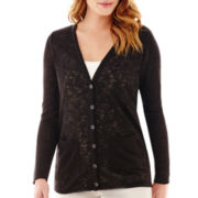 Liz Claiborne® Long-Sleeve V-Neck Cardigan Sweater