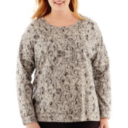 Liz Claiborne® Long-Sleeve High-Low Print Sweatshirt - Plus