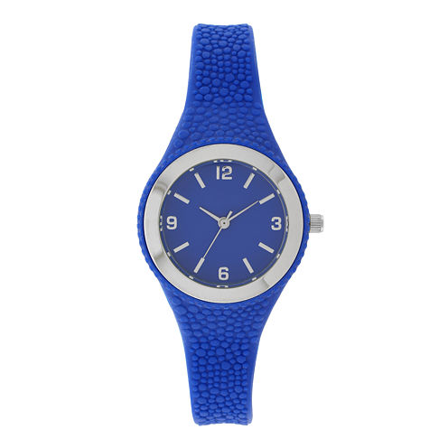 Womens Blue Rubber Strap Watch