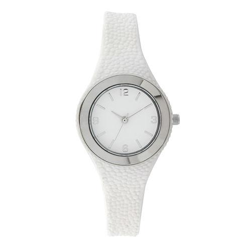 Womens White Rubber Strap Watch